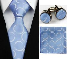 Blue with White Circles  100% Pure Silk Neck Tie Cufflink and Handkerchief Set