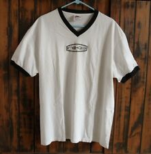 Vintage NIKE 1980s-90s? V-Neck Ringer T-Shirt ~Flocked-On NIKE Logo~ USA-made
