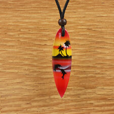 Wood Surfboard Pendant Necklace Surf Mens Womens Red Yellow Palm Tree Dolphin