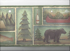 WALLPAPER BORDER PRIMITIVE CAMPING CANOE BEAR FISH LAKE TENT COUNTRY NEW ARRIVAL