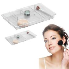 Makeup Tray Drawer Organizer Cosmetic Storage Brush Holder Case, Clear Acrylic