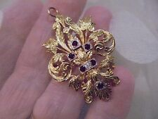 18KT SOLID GOLD VICTORIAN RUBY/DIAMOND BROOCH/PENDANT
