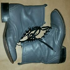 80s Vintage gray Women's roper lace up leather cowboy granny ankle boots 8
