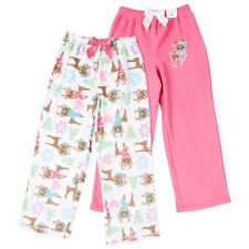 NEW St. Eve Girl's Cozy Fleece Elastic Waist Sleep Pants 2-pack Reindeer 12