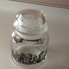 CLEAR GLASS COFFEE STORAGE JAR WITH BLACK COFFE PICTURES & GASKET LID
