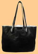 MICHAEL KORS MAE Black & Silver Leather LG Reversible E/W Tote Bag Msrp $298.00