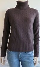 GAP brown 100% CASHMERE polo neck cable knit jumper - M / UK10-12