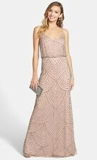 Adrianna Papell Embellished Blouson Gown Taupe Pink / [Size : 14 ]    #A54