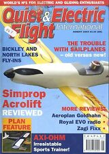 QUIET & ELECTRIC FLIGHT INTERNATIONAL MAGAZINE 2003 AUG SIMPROP ACROLIFT, AXI-OH