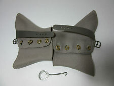 Antique 1920's Women/Men Grey Wool Spats Shoe Covers 4 Buttons  Canvas Strap NWT