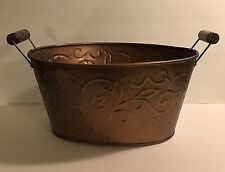Large Log Carrier Holder Copper Firewood Bucket Rack Oval Tub Indoor Antiqued