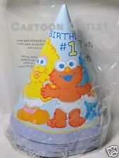 ELMO PARTY HATS 8 PCS PARTY SUPPLIES BIGBIRD COOKIE MONSTER 1ST BIRTHDAY SESAME
