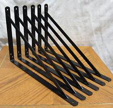 """8 Black Extra Heavy Duty Steel 19.25"""" x 12.5"""" Shelf Brackets! Metal Fixed Lot L"""