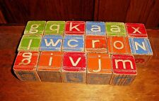 Wood Children Building  Blocks Antique Vintage Lot of 17 Letters Numbers Picture