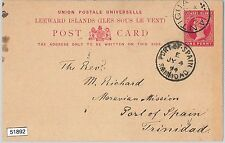 51892 -   Leeward Islands -  POSTAL HISTORY -  STATIONERY CARD to TRINIDAD 1891