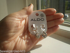 ALDO SILVER TONE & CUBIC ZIRCONIA DANGLING DROP  EARRINGS