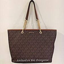 NWT Michael Kors Jet Set Travel Chain Top Zip Multifunction Tote MK Logo Brown