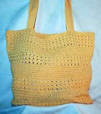 The Sak Large Yellow Chrochet Shoulder Bag Tote Big Purse Great for Travel