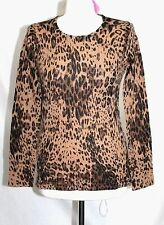 Cache - S - NWT - Brown & Black Animal Print - 100% Cashmere Crew Neck Sweater