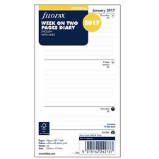 Filofax Personal 2017 Week On Two Page Line Planner Diary Insert Refill 17-68418