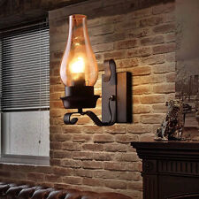 Industrial Wall Lamp Glass Lampshade Rustic Bracket Sconces Light Retro Lighting