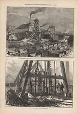 1873 ANTIQUE PRINT- STAFFORDSHIRE TALKE COLLIERY EXPLOSION, NR HANLEY, 2 IMAGES
