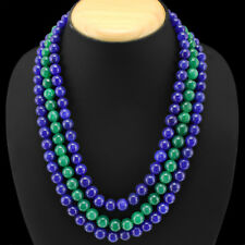 WONDERFUL 768.00 CTS EARTH MINED 3 LINE EMERALD & SAPPHIRE ROUND BEADS NECKLACE