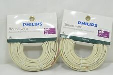 2 Packs PHILIPS 75FT PHONE & PC ROUND WIRE EXTEND EXISTING WIRING  PRE-WIRE USE