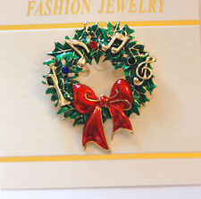 Christmas Wreath w Music Notes & Horn Pin and/or Pendent /  Gold-tone