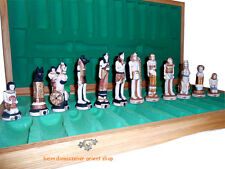 Egypt Ägypten Schachfiguren Polyresin Schachspiel Schachbrett Chess Holz 65X65cm