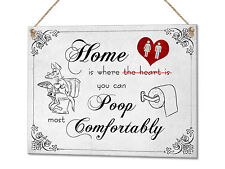 Home Is Where You Can Poop Comfortably Funny Toilet Metal Plaque Sign Wall Art