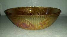 """BEAUTIFUL IRIDESCENT CARNIVAL GLASS BOWL TULIP FOLWERS 8"""" ROUND"""