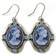 Antique Vintage Style Bronze Tone Plated Cameo Blue Stones Dangle Earring Charms