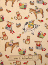 Henry Glass Apple Blossom Acres Primitive Country Cow Pig Cat Cotton Fabric YARD