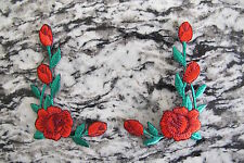 #3964R Lot 2 Pcs Red Rose Flower Embroidery Iron On Applique Patch