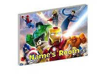 LEGO MARVEL SUPERHEROES a PERSONALISED WOODEN DOOR PLAQUE