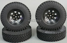 Scale RC Truck Metal STAMPED 1.9 WHEELS RIMS  W/ Scale Rubber Tires 100mm (4pc)