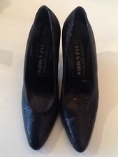 VTG 1970s/80s Roz & Sherm Grey/Black Trim Leather Heels Shoes UK 3