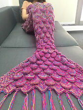 Handmade Crocheted Sleeping Bag Mermaid Tail Blanket Kid Adult Christmas Cosplay
