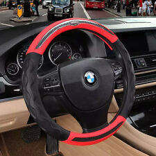 Black Red Top No Smell 3D Sport Leather Car Steering Wheel Cover Grip Anti slip