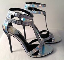 NEW! B BRIAN ATWOOD SILVER MERMAID SHEEN ANKLE & T- STRAP HEEL SZ 39