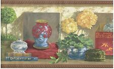 ORIENTAL ASIAN FANCY VASES WITH FLOWERS AND BOOKS DOG STATUE Wallpaper bordeR