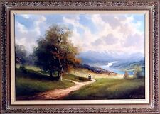 Amazing Large ca.1945 German Listed Artist Landscape Painting Oil/Canvas w/Frame