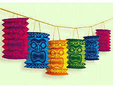 Hawaiian Tiki Paper Lantern Garland Luau Beach Party Decorations Supplies ~ 12'