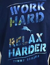 NEW TOMMY BAHAMA SHIRT Navy Work Hard Relax Harder MENS T SHIRT TEE Large L