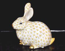 HEREND GUILD, CHUBBY RABBIT PORCELAIN FIGURINE, BUTTERSCOTCH FISHNET, FLAWLESS