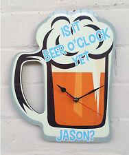 Beer o'clock ~ is it beer o' clock yet? ~ beer decor ~ Personalised clock ~ Beer