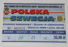 Ticket for collectors EURO q * Poland - Sweden 1999 in Chorzow