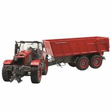 1:28 Large Farm Tractor Plus Trailer Remote Control RC Toy With Tipping Trailer