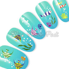 Nail Art Water Transfers Decals Stickers Marine Sea Fish Bubbles Coral K033A